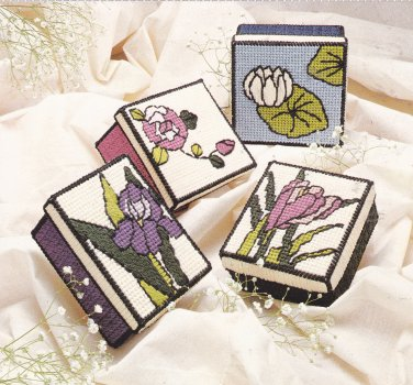 Nifty Stained Glass Floral Boxes Plastic Canvas pattern leaflet