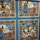4 Fabric Panels 2 Southwest Designs Horses, Native American Woman with Baskets for Pillows, Crafts