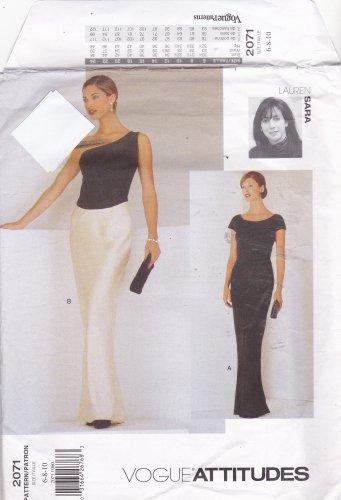 Vogue 2071 Pattern Uncut FF 6 8 10 Lauren Sara One Shoulder or Bateau Evening Gown