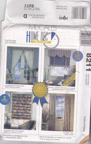 McCall's 8211 Pattern Uncut FF Roman Shades Curtains Cornice Window Treatments