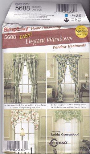 Simplicity Home Decor Pattern 5688 Uncut FF Robin Greenwood Window Treatments