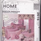 McCall's Home Decor Pattern 2616 Uncut FF Bedroom Essentials