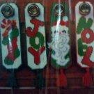 Christmas Holiday Door Hangers Plastic Canvas Kit Noel Joy Stocking Gifts Santa Claus
