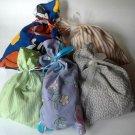 Handmade (by me) Fabric Gift Bag Assortment: 5 Cloth Bags Sports, Stripes, Checks, Flowers, Calico