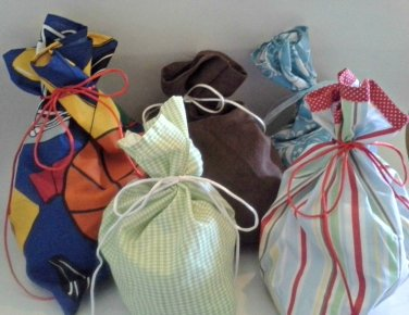 Handmade by me Fabric Gift Bag Assortment 5 Cloth Bags Sports Stripes/Polka Dots Faux Suede Floral