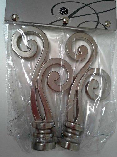 Pkg of 2 Cambria Lariat Decorative Finials 105108 Brushed Nickel finish 4.75 inches