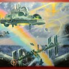 Outer Space Wallpaper Border GB9022-2B Space Station Rainbow 5y