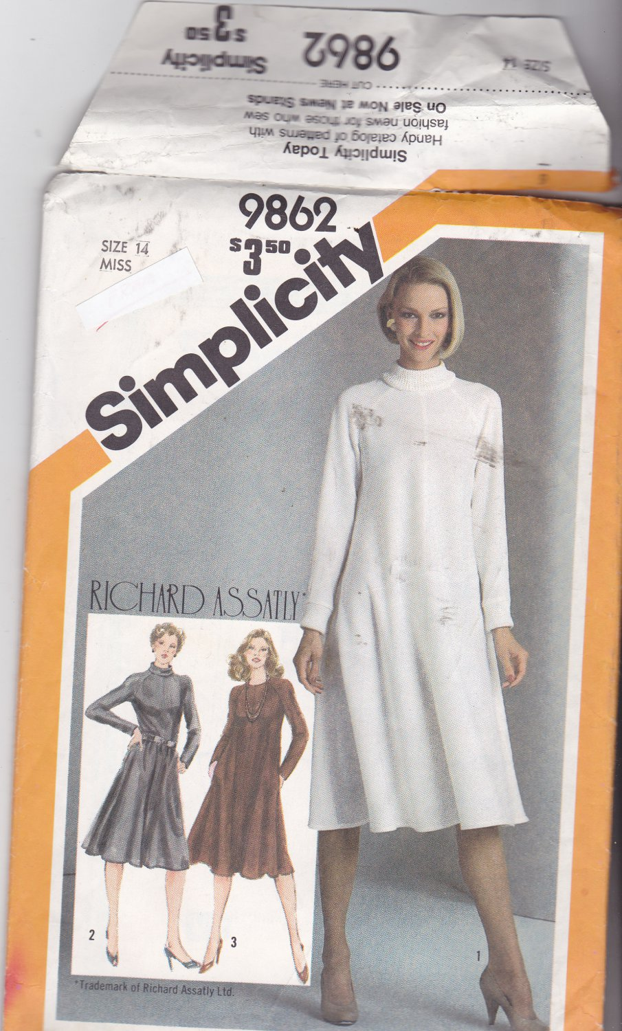 Simplicity 9862 Pattern Uncut 14 Bias Tent Dress Richard Assatly