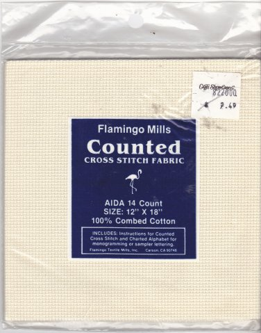 Flamingo Mills Aida Cloth 12x18 inches 14 Count Cotton Eggshell for Cross Stitch