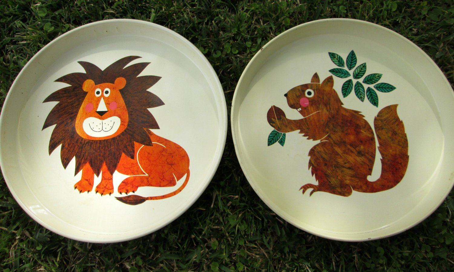 Two Round Painted Metal Trays by Rodney Peppe for Crown Merton Squirrel and Lion 1970s Pop Art