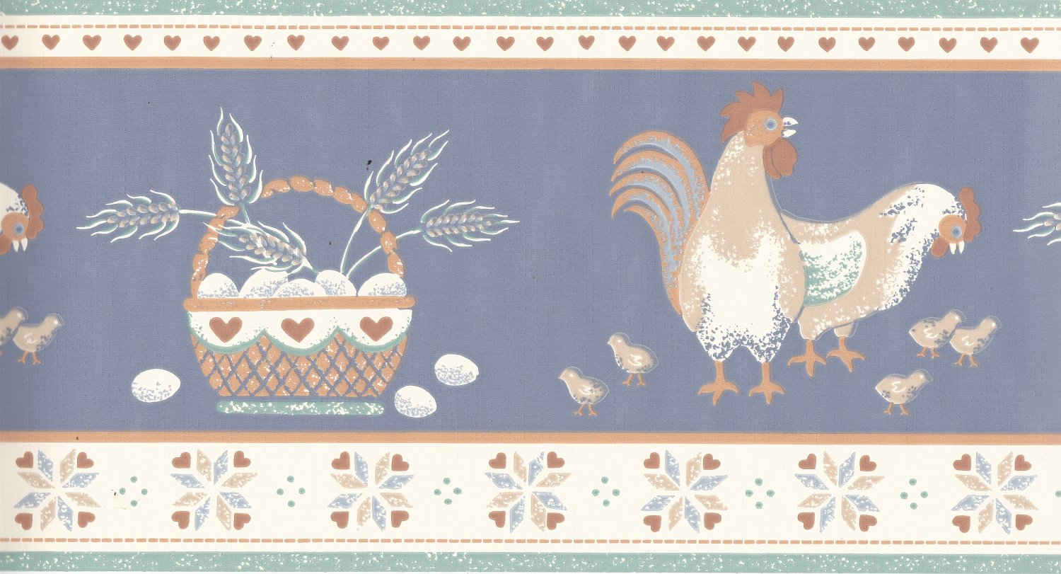 Vintage Chicken Rooster Eggs Chicks Wallpaper Border 6-3/8 inches x 5 yards 1980s BWT9210