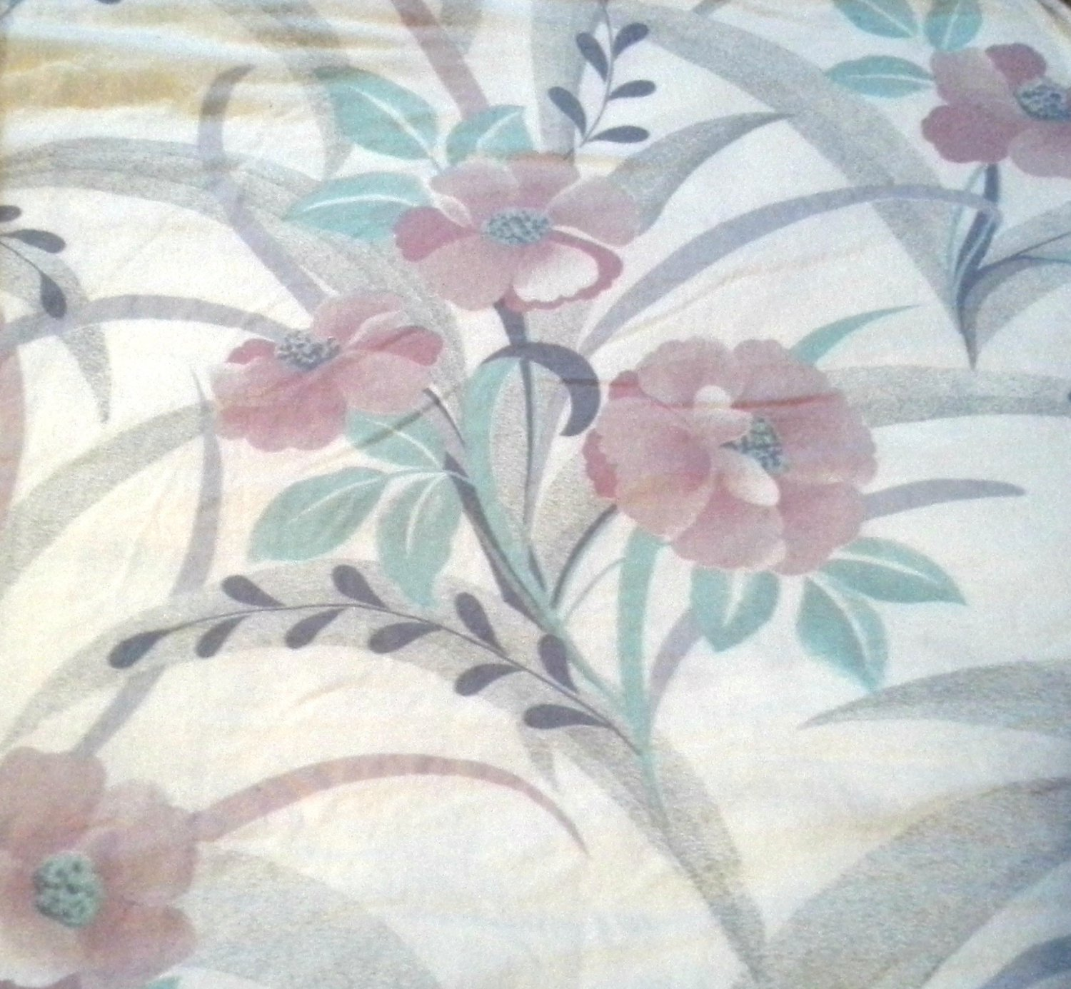 Flannel 100% Cotton Twin Flat Sheet Mauve Pink Green White Gray Floral for use or cutter