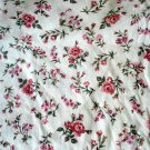 3 yards Cotton Calico Fabric Remnant Pink Roses on Eggshell White Floral Print