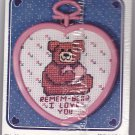 New Berlin Co. Counted Cross Stitch Kit 30536 Bear Heart Love Pink Valentine