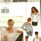 Butterick 3524 Pattern Uncut 6 8 10 Tops Blouses Neckline Sleeve Variations