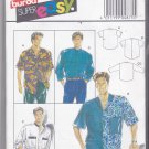 Burda 4875 Pattern Uncut Men's 14.5 - 17.5 Loose Fit Shirt Band or Notched Collar Contrast Options