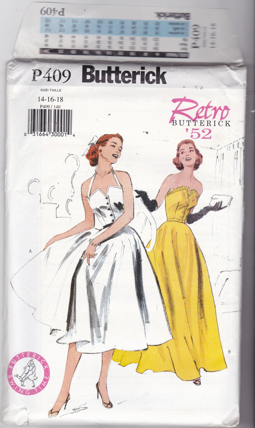 Butterick P409 Pattern Uncut 14 16 18 Retro '52 Fitted Bodice Strapless or Straps Flared Skirt Dress