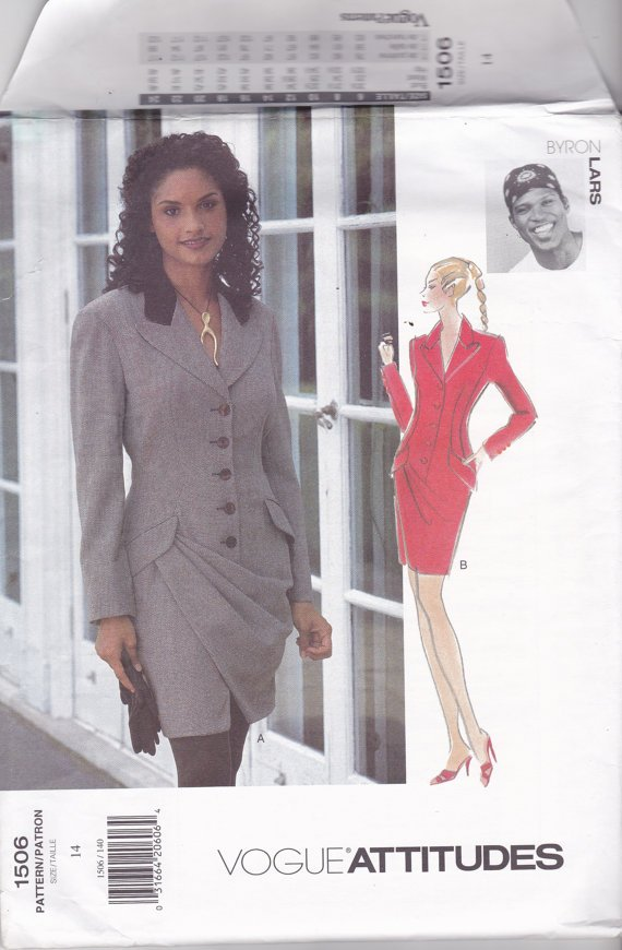 Vogue 1506 Pattern 14 Uncut Attitudes Designer Byron Lars Button Front Lined Dress