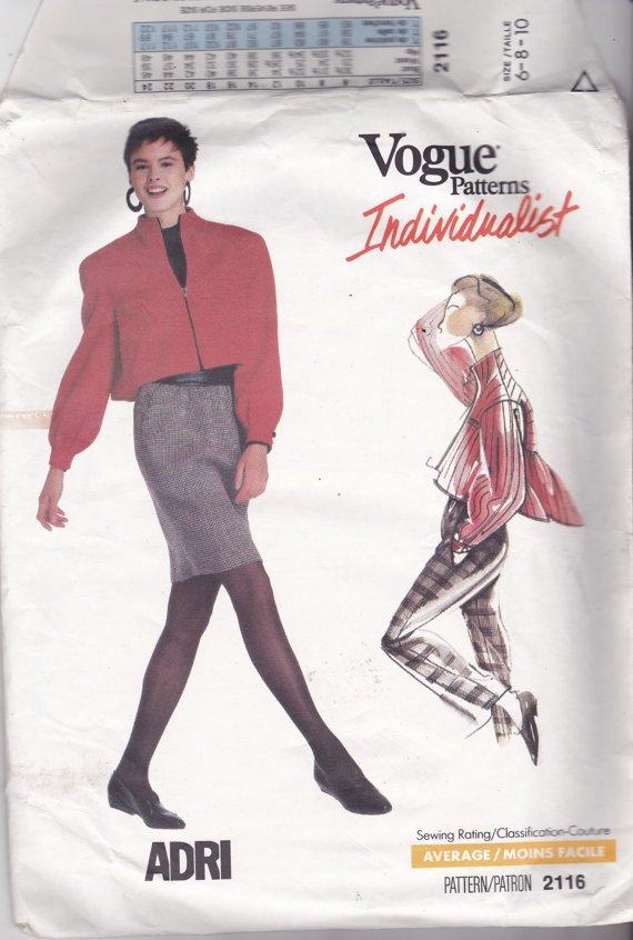 Vogue Individualist 2116 Pattern 6 8 10 Uncut ADRI Zip Front Jacket Skirt Pants