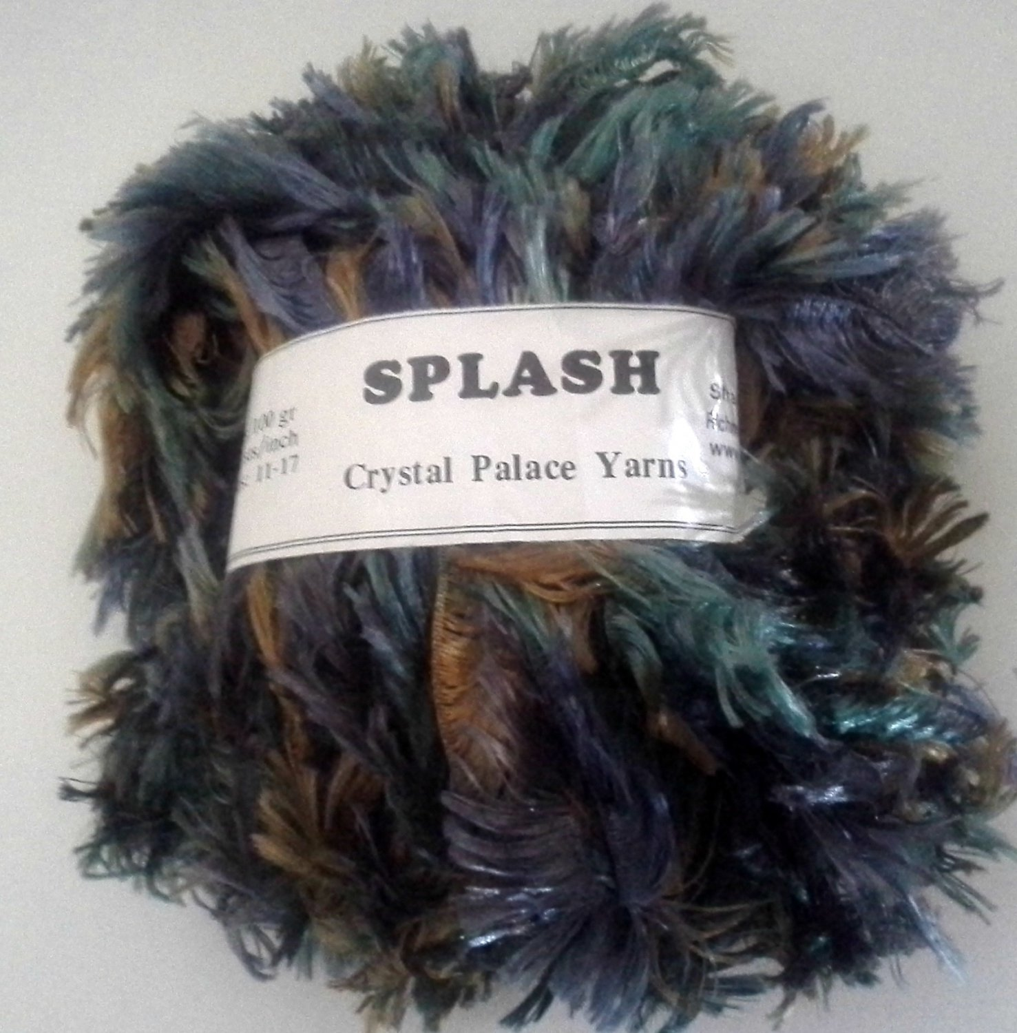 Crystal Palace Splash Novelty Eyelash Yarn 7189 Tidepool Shades of Blue Green