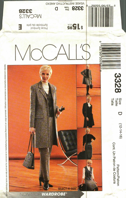 McCall's 3328 Pattern uncut 12 14 16 Career Jacket Vest Pants Skirt