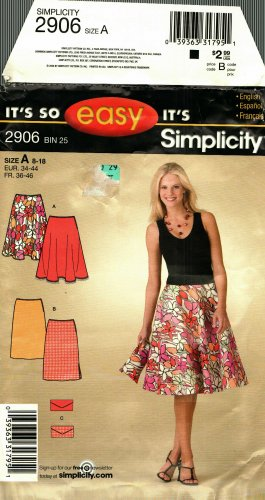 Simplicity 2906 Pattern uncut 8 10 12 14 16 18 Flared or Straight Skirt and Wallet