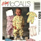McCall's 5153 Pattern uncut Infants Babies 14 - 32 pounds Jumpsuit Romper Snap Crotch