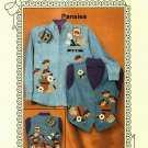 Ozark Crafts 835 Doily Wear Pansies Pattern uncut to decorated purchased shirt or vest