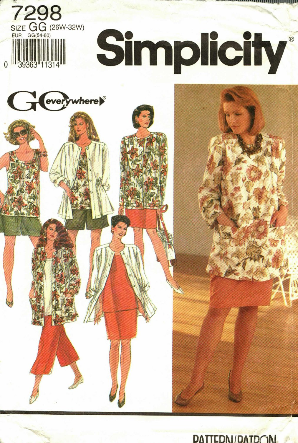 Simplicity 7298 size 26w 28w 30w 32w may be missing pieces, 50 cents plus shipping