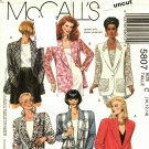 McCall's 5807 Pattern uncut 10 12 14 Loose Fit Unlined Jacket optional Lace Sleeves