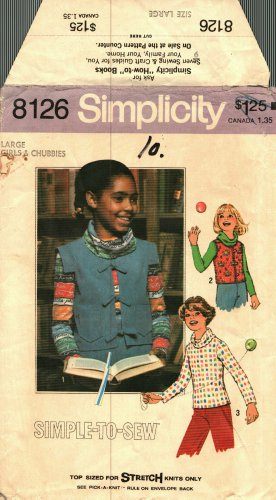 Simplicity 8126 size L 30 32 Girls Cowl Neck Top Vest may be missing pieces, 50 cents plus shipping
