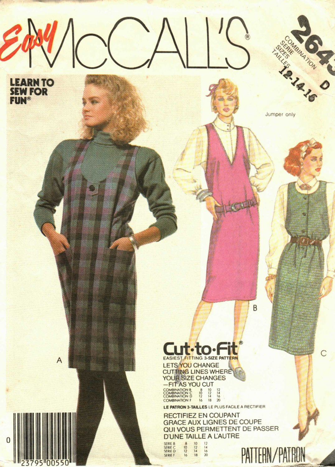 McCall's 2643 Pattern uncut 12 14 16 Jumper Learn to Sew for Fun