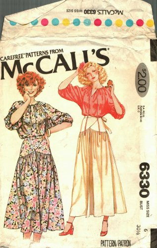 McCall's 6330 Pattern uncut 6 Boho Peasant Blouse and Wrap Skirt Vintage 1970s