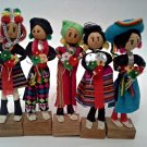 Vintage set of 5 Handmade Guatemalan Dolls Bright Fabrics Wrapped Wire 5 inches