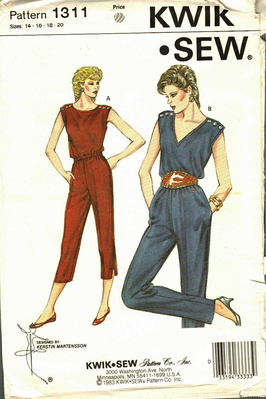 Kwik Sew 1311 Pattern uncut 14 16 18 20 Blouson Tapered Jumpsuit Snap Shoulders