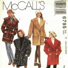 McCall's 6795 Pattern uncut XS S M 4 6 8 10 12 14 Oversized Coat Shawl Collar Belt Lined or Unlined