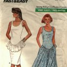 Butterick 6291 Pattern uncut 12 14 16 Sleeveless Knit Dress Shaped Waist Peplum Style Ruffle