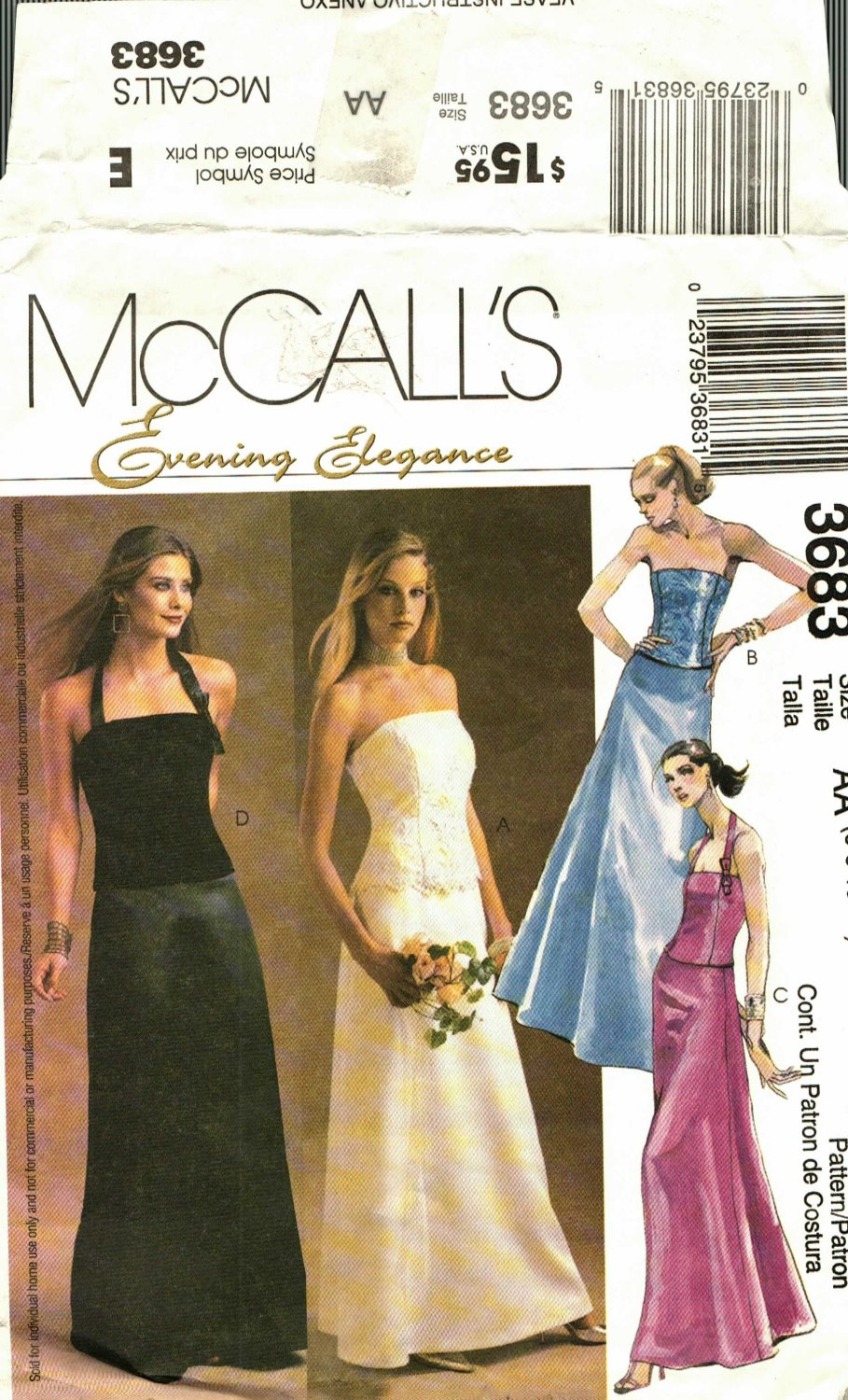 McCall's 3683 size 12 Evening Tops Long Skirt may be missing pieces, 50 cents plus shipping