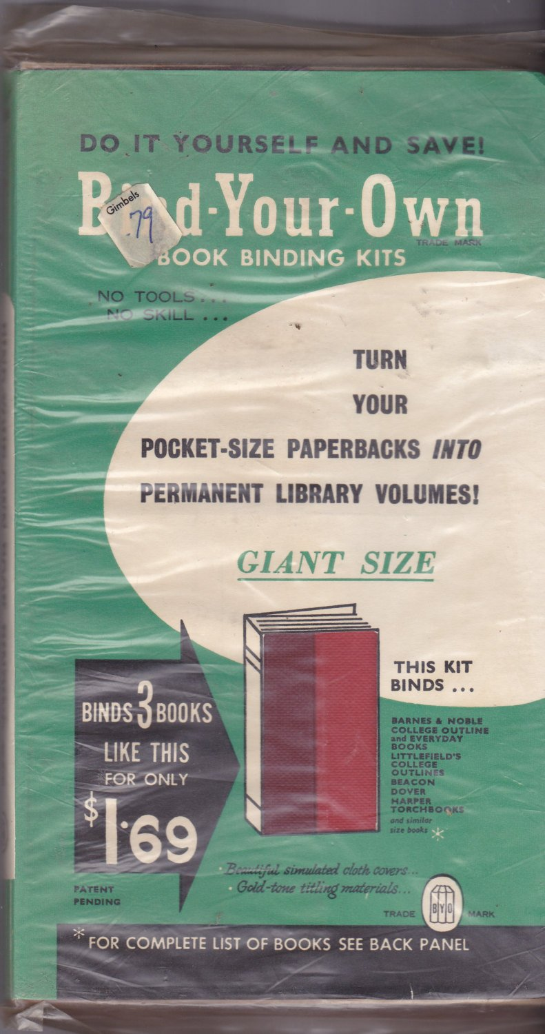 Vintage BYO Bind Your Own Book Binding Kit 5.5 x 8.25 in to make paperbacks into hard cover books