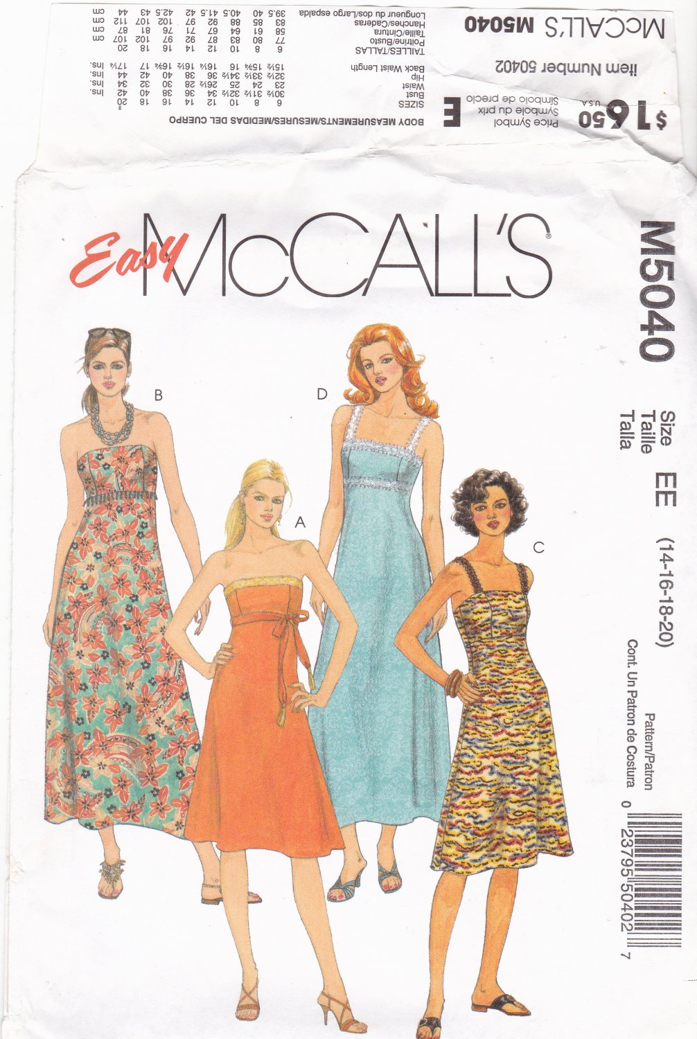 McCall's M5040 Pattern uncut 14 16 18 20 Summer Dresses Straps or Strapless