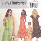 Butterick B4793 Pattern uncut 8 10 12 14 A-Line V Neck Dress Tiered Skirt