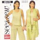 Butterick B5170 Pattern Uncut L XL 16 18 20 22 Top Vest Cover Up Pants
