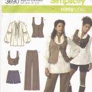 Simplicity 3690 Pattern uncut 12 14 16 18 20 Top Vest Pants Shorts