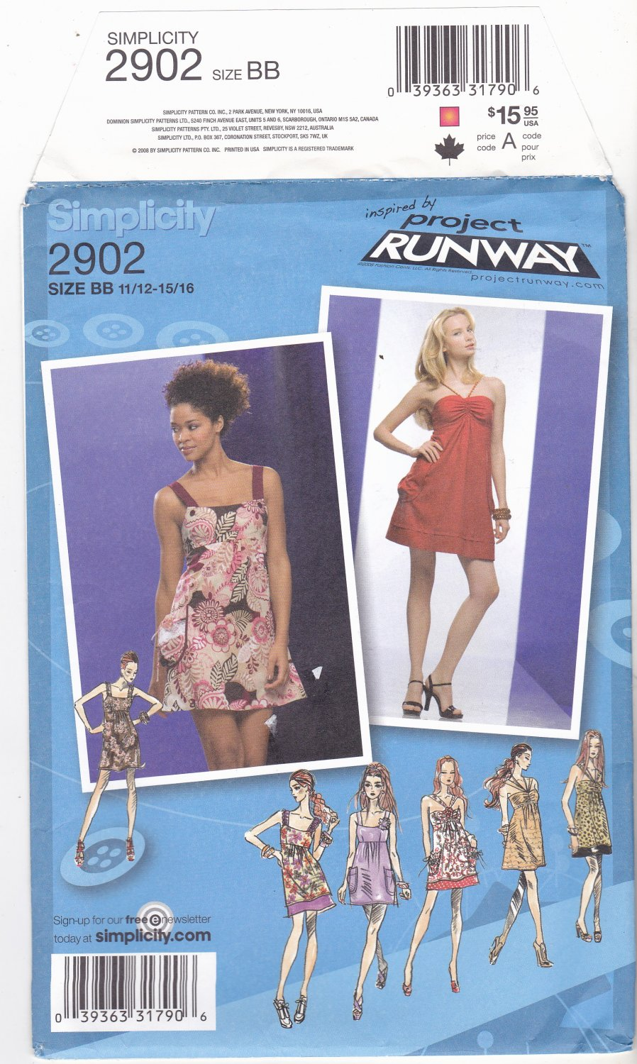 Simplicity 2902 uncut 11 12 13 14 15 16 Mini Dress with Variations Project Runway