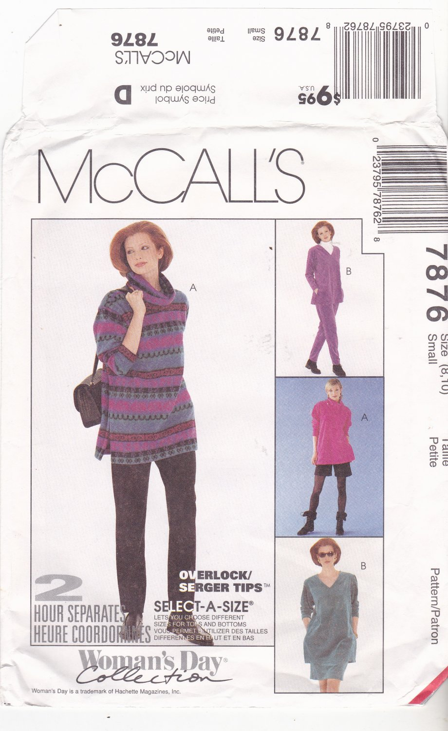 McCall's 7876 Pattern uncut small 8 10 Cowl or V Neck Top Skirt Pants Shorts