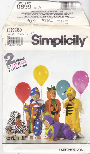 Simplicity Costume 0699 7475 Pattern Uncut size 1/2 1 2 3 4 Toddler Bee Dinosaur Dog