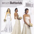 Butterick 5325 Pattern uncut 6 8 10 12 Strapless Bridal Wedding Dress with Train