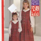 Butterick See & Sew 6332 Pattern 2 3 4 5 6 uncut Toddlers Girls Jumper Top Blouse