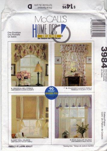 McCall's Home Decor 3984 Pattern Window Treatments Cornice Valance Panels