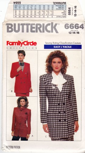 Butterick Pattern 6664 Uncut 12 14 16 Double Breasted Below Hip Jacket